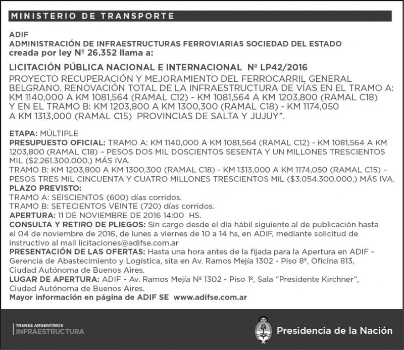 Pubblicata la nuova licitazione di ADIF-Trenes Argentinos Infraestructura