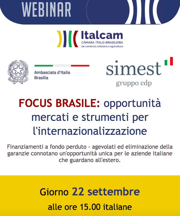Webinar FOCUS BRASILE: opportunità mercati e strumenti per l'internazionalizzazione