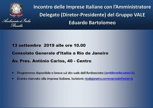 L'AD del gruppo Vale Eduardo Bartolomeo incontrerà le imprese italiane a Rio.