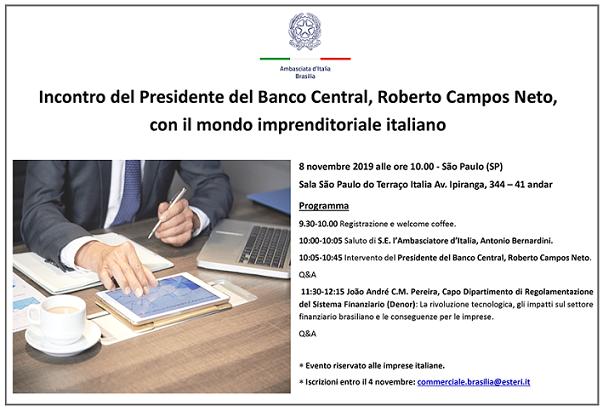 Programma dell'incontro tra il Presidente del Banco Central e le imprese italiane