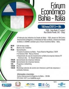 Bahia: L´Ambasciata d´Italia organizza una missione imprenditoriale il 18-19 novembre 2013.