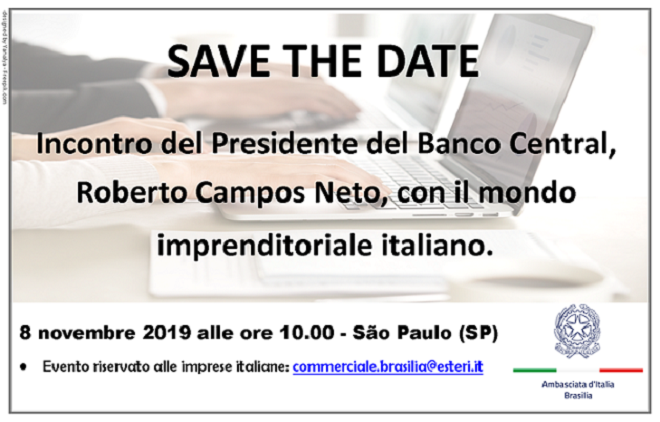 Save the date: Il Presidente del Banco Central Roberto Campos Neto incontrerà le imprese italiane