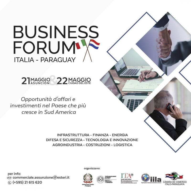 BUSINESS FORUM ITALIA-PARAGUAY 21-22 MAGGIO 2019