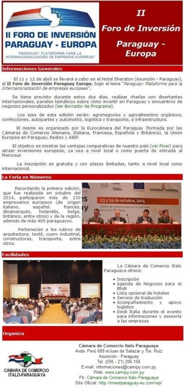 II Foro degli Investimenti Paraguay-Europa (Assunzione, 11 e 12 aprile 2016)