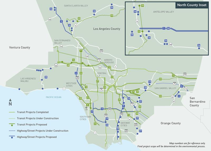 Priorita' Citta' di Los Angeles per le infrastrutture dei trasporti.