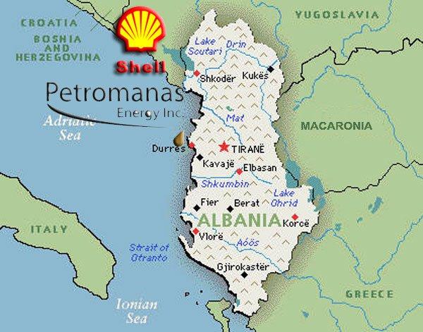 La Royal Dutch Shell avvia ricerche di petrolio in Albania mediante la controllata canadese Petromanas.