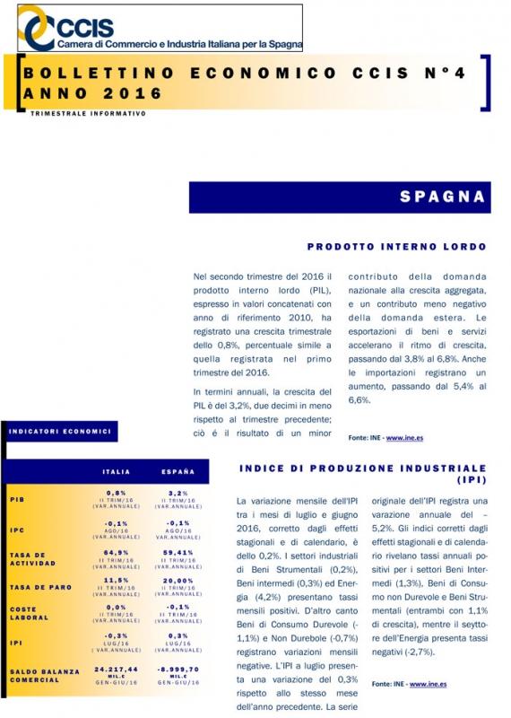 Bollettino Economico CCIS n.4 2016